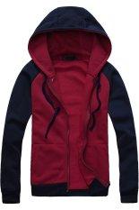 Cocotina Casual Man Boy Slim Pullover Hoodie Jacket Hooded Sweatshirt Coat Zipper Outwear (Red & Dark Blue)