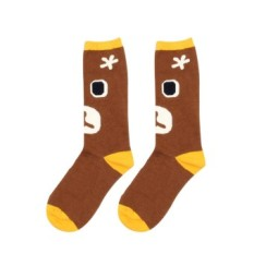 Cocotina Comfort Women Girl Fashion Cartoon Bear Face High Socks Casual Sport Hosiery – Coffee
