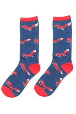 Cocotina Comfort Women Girl Fashion Cartoon Fox High Socks Casual Sport Hosiery – Blue