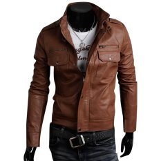 Cocotina Cool Men's PU Leather Jacket Biker Motorcycle Outwear Coat (Brown)