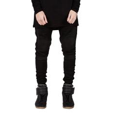 Cocotina Men Designed Straight Slim Fit Jeans Feet Pants Skinny Denim Stretch Trousers (Black) - INTL