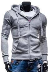 Cocotina Men's Sport Slim Hoodie Coat Hooded Sweatshirt Leisure Lightweight Jacket Outwear (Grey)
