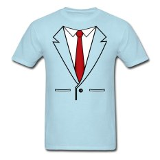 CONLEGO Creative Men's Business Suit With Tie T-Shirts Sky Blue - Intl