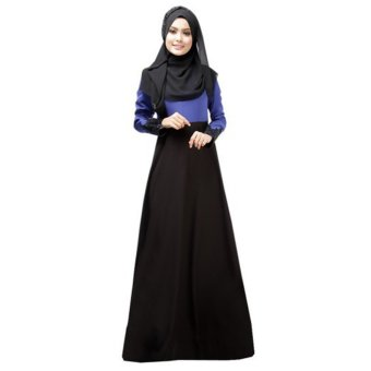 31ec325a08 Harga Contrast Abaya Dress with Crochet Lace Hem (Blue) - PriceNia.com