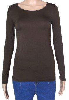 COSIVIA Cotton Muslim long sleeve half-length T shirt coffe