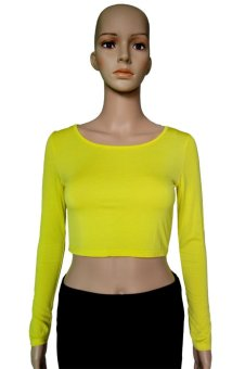 COSIVIA Cotton Muslim long sleeve half-length T shirt  yellow
