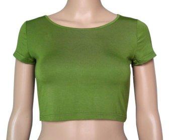 COSIVIA Cotton Muslim short sleeve half-length T shirt army green