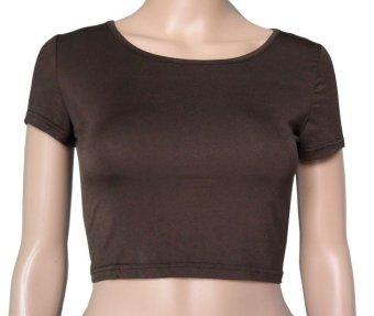 COSIVIA Cotton Muslim short sleeve half-length T shirt coffe