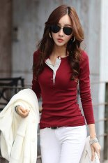 Cotton Blend + Lint Slim Fitting Casual Slim and Long Sleeved T-shirt Red (EXPORT)