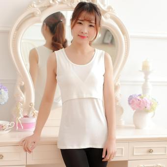 83b4f324248 Cotton Nursing Tank Tops Summer Breastfeeding Vest Clothes for Pregnant  Women Maternity Breastfeeding Shirts (White
