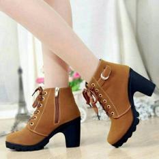 Cremline - Sepatu Boot Heels Wanita Casual SB099 - Tan