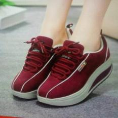 Cremline - Sepatu Kets Sport Casual Wanita Stripe ST01 - Maroon