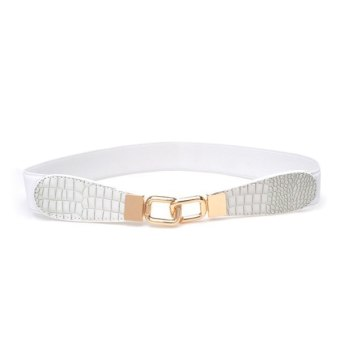 Croco Leather Elastic Stretchy Waist Belt Metal Buckle (White)