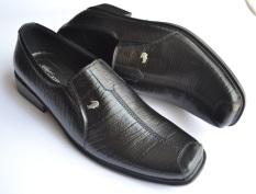 Crocodile Sepatu Kulit Sepatu Kerja Pria Branded - A3 Hitam