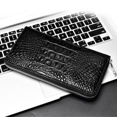 Crown Crocodile Skin Handbag Men Hand Bag Bag Alligator Purse Long Card Package Bulk Clutch (Color:Black)