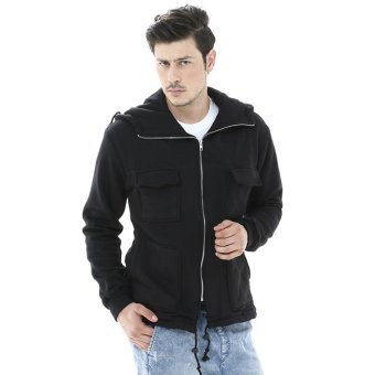 Crows Denim Hooded Jacket Korean Style - Hitam
