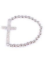 Crystal Rhinestone Cross Love Infinity Stretch Beaded Bracelet Gift 05 Silver
