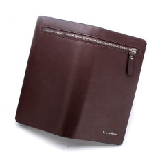 CUREWE KERIEN Brand Men's PU Leather Long Zipper Purse Business Wallet Handbag Coffee (Intl)
