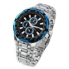 Curren - Jam Tangan Pria - Silver - Strap Stainless Steel - Blue Luxury Sport Steel Watch