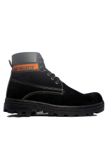 Cut Engineer Earth Boots Iron Safety Shoes Leather - Hitam