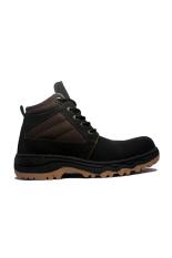 Cut Engineer Stylish Safety Boots Iron Leather - Hitam