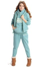 Sunweb 3-in-1 Autumn Women's Leisure Suit Pullover Hoodie Coat and Vest and Long Pants (Sky Blue)