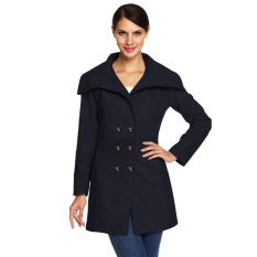 Cyber ACEVOG Women Fashion Slim Casual Envelope Collar Double Breasted Wool Blend Trench Coat (Navy Blue)