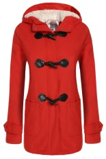 Cyber Angvns Stylish Ladies Women Casual Long Sleeve Hoodie Hip Length Solid Winter Warm Pockets Coat Outwear (Red)