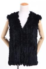 Cyber Autumn Spring Women's Slim Knitted Fur Vest Soft Fur Waistcoats Vest (Black) (Intl)