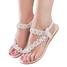Cyber Bohemia Style Floral Resin Rhinestone Elastic Band One Toe Flat Heel Sandal Thong Slipper (White) (Intl)