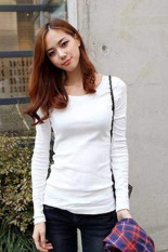 Cyber Casual Fall Women Round Collar Long Sleeve Pullovers T-shirt Tops (White)