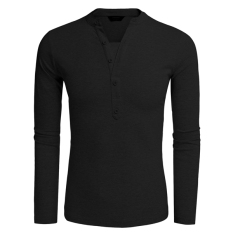 Cyber COOFANDY Men Fashion Casual V Neck Long Sleeve Solid Slim Fit Henley Shirts T Shirt Tops (Black)