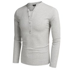 Cyber COOFANDY Men Fashion Casual V Neck Long Sleeve Solid Slim Fit Henley Shirts T Shirt Tops (Gray)