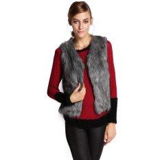 Cyber Fall Winter Women Faux Fur Vest Winter Vest Sleeveless Waistcoat (Grey) (Intl)