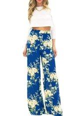 Cyber Fashion Ladies Wide Leg Dance Pants Women Loose Print Straight Long Pants (Green)