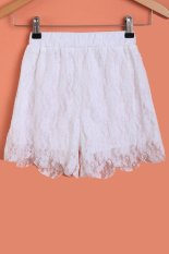 Cyber Fashion Ladies Women Sweet Lace Floral Elastic Waist Loose Casual Basic Shorts (White)