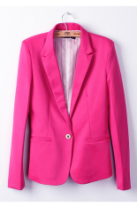 Cyber Fashion Women Candy Color Basic Coat Slim Blazer Rose Red