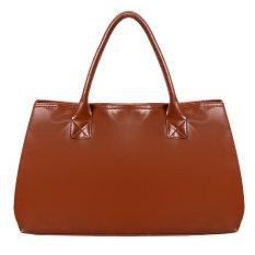 Cyber Faux Leather Women Handbag Ladies Shoulder Top-Handle Bags (Brown)