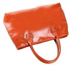 Cyber Faux Leather Women Handbag Ladies Shoulder Top-Handle Bags (Orange)