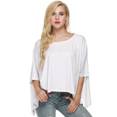 Cyber FINEJO Fashion Women Casual O-neck Batwing Sleeve Solid Loose T-shirt (White)