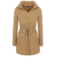 Cyber FINEJO Women Faux Fur Lined Stand Collar Fur Hooded Full Zip Waist Drawstrings Parka Long Jacket Coat (Coffee) (Intl)