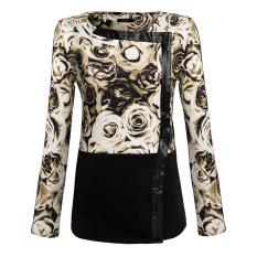 Cyber Finejo Women Lady Long Sleeve Floral Patchwork Zipper Coat Jacket Outerwear (Brown) (Intl)