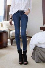 Cyber Korea Fashion Women's Stretch Pencil Pants Casual Slim Skinny Jeans Trouser (Skye Black)