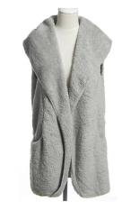 Sunweb Korea Women's Girls Fashion Elegant Warmer Casual Bushy Hoodie Long Vest Coat Grey (Intl)