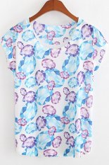 Cyber Korean Fashion Women's Cap Sleeve O-neck Tops Stone Printed Casual Leisure T-Shirt (Multicolor)
