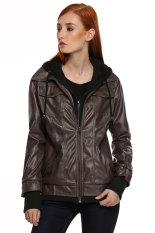 Cyber Meaneor Women Fashion Casual Synthetic Leather Jacket Coat with Hoodie (Coffee)