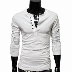Cyber Men Casual Single-breasted Long Sleeve Round Neck T-shirt Top Tee Primer Shirt (White)