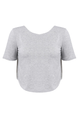 Cyber New Lady Women Fashion Short Sleeve O-Neck Sexy Loose Short Tops Blouse (Grey)