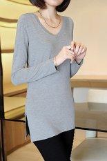 Cyber New Women Lady Fashion Casual V-Neck Long Sleeve T-shirt Tops (Grey)