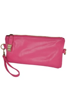 Cyber Retro Women Clutch Chain PU Leather Handbag Purse Tote Shoulder Hand Bag 6 Colors (Rose Red)